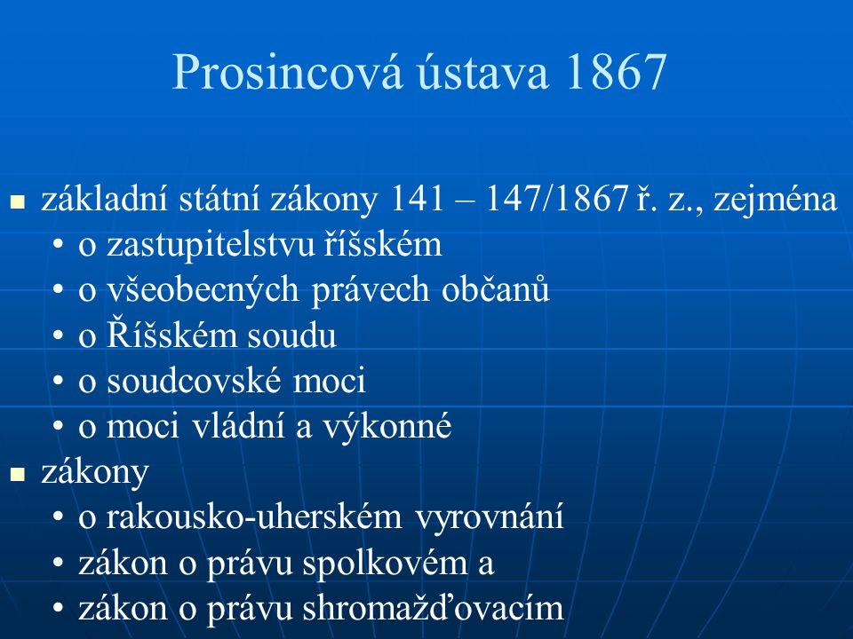 Prosincová ústava 1867 základní státní zákony 141 – 147/1867 ř. z., zejména. o zastupitelstvu říšském.
