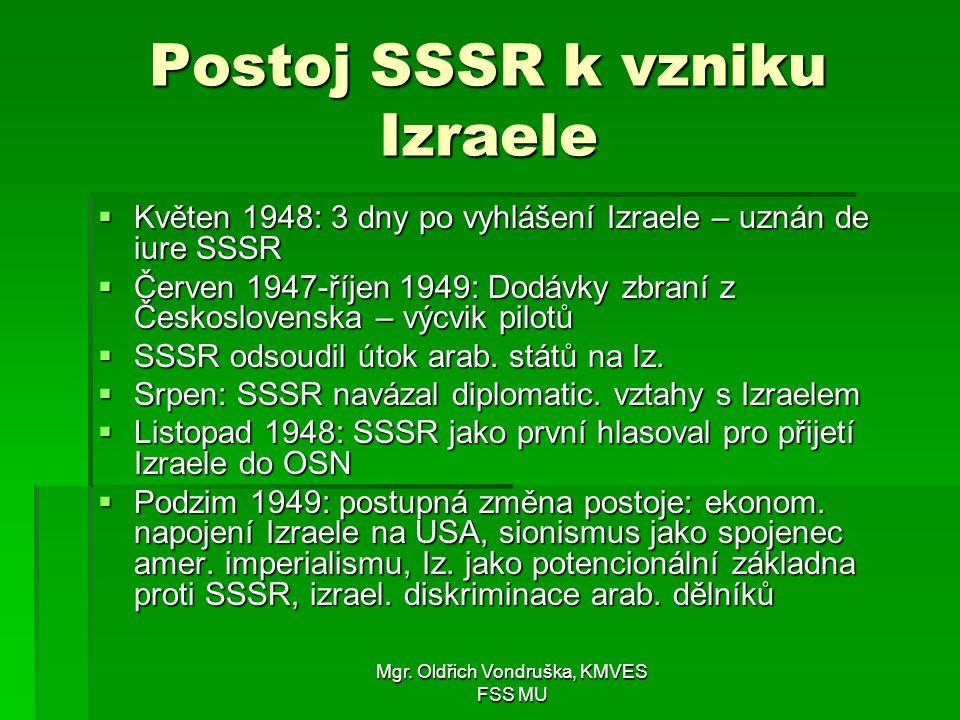 Postoj SSSR k vzniku Izraele