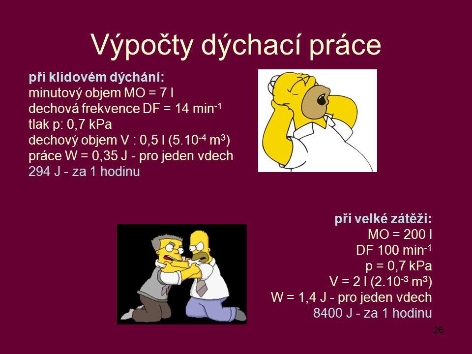 Výpočty dýchací práce při klidovém dýchání: minutový objem MO = 7 l