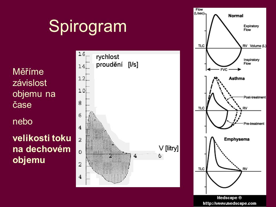 Spirogram Měříme závislost objemu na čase nebo