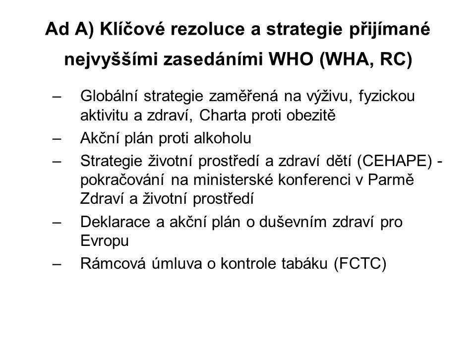 Ad A) Klíčové rezoluce a strategie přijímané nejvyššími zasedáními WHO (WHA, RC)