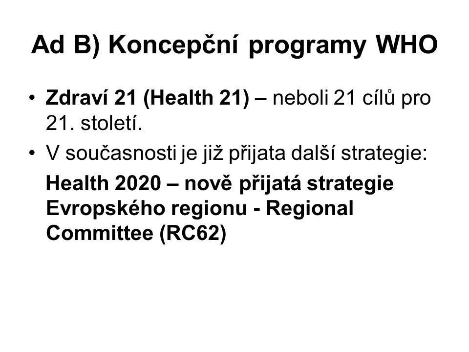 Ad B) Koncepční programy WHO