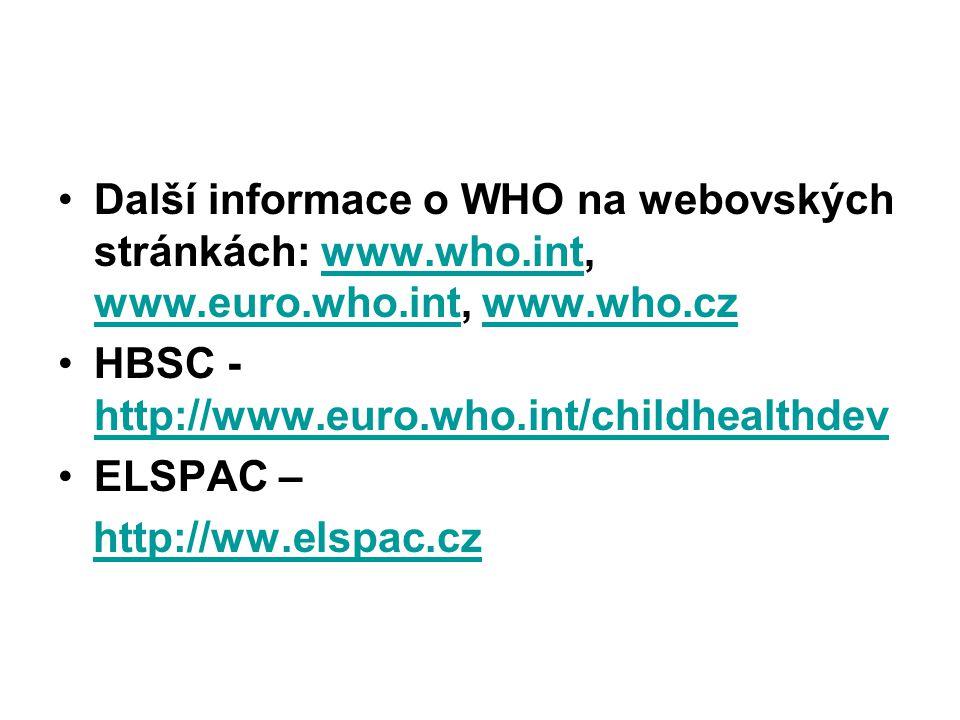 Další informace o WHO na webovských stránkách: www.who.int, www.euro.who.int, www.who.cz