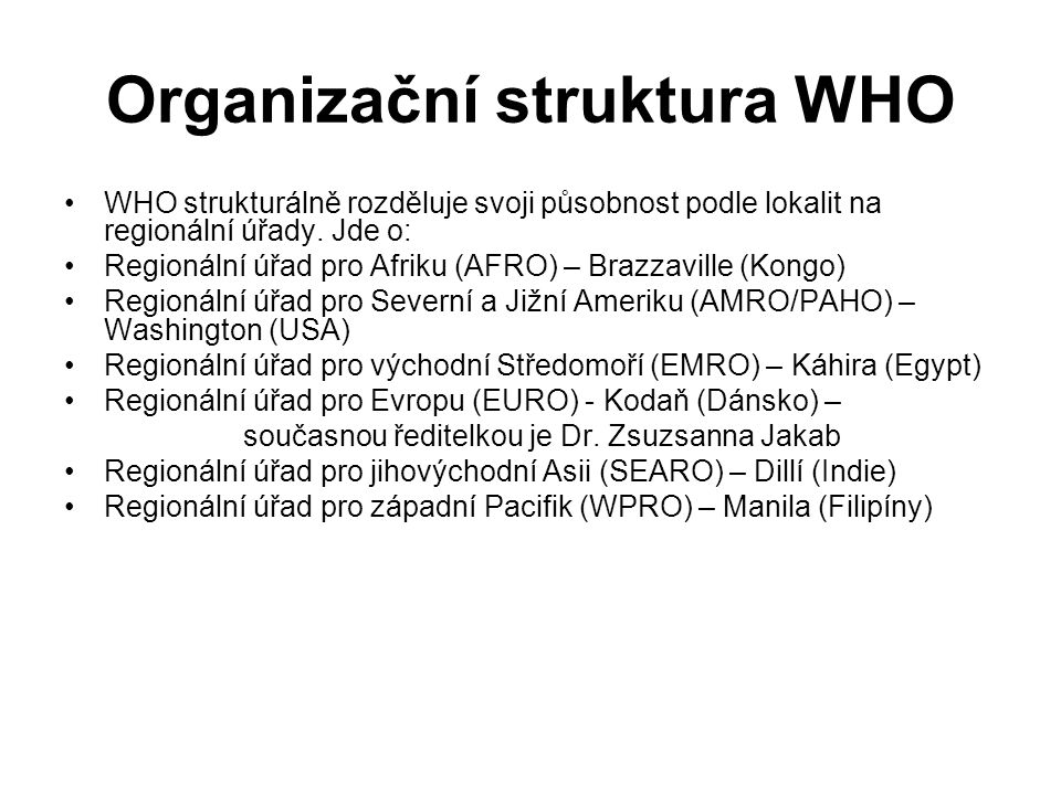 Organizační struktura WHO