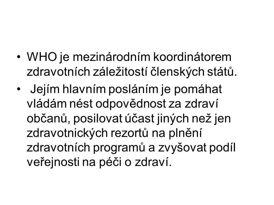 WHO je mezinárodním koordinátorem zdravotních záležitostí členských států.