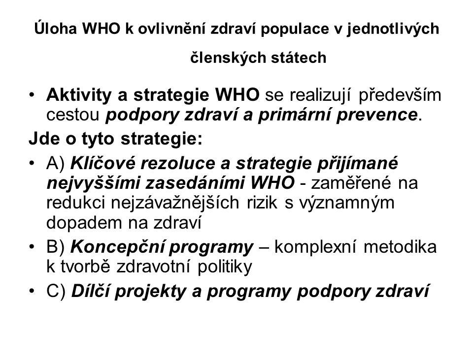 Úloha WHO k ovlivnění zdraví populace v jednotlivých členských státech