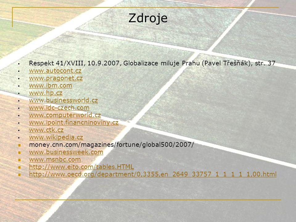 Zdroje Respekt 41/XVIII, 10.9.2007, Globalizace miluje Prahu (Pavel Třešňák), str. 37. www.autocont.cz.