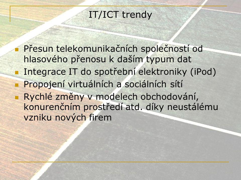 IT/ICT trendy Přesun telekomunikačních společností od hlasového přenosu k daším typum dat. Integrace IT do spotřební elektroniky (iPod)