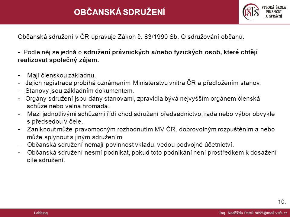 OBČANSKÁ SDRUŽENÍ Občanská sdružení v ČR upravuje Zákon č. 83/1990 Sb. O sdružování občanů.
