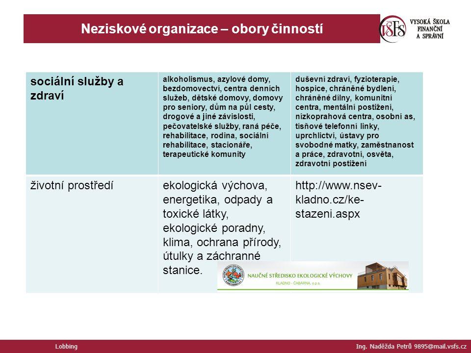Neziskové organizace – obory činností
