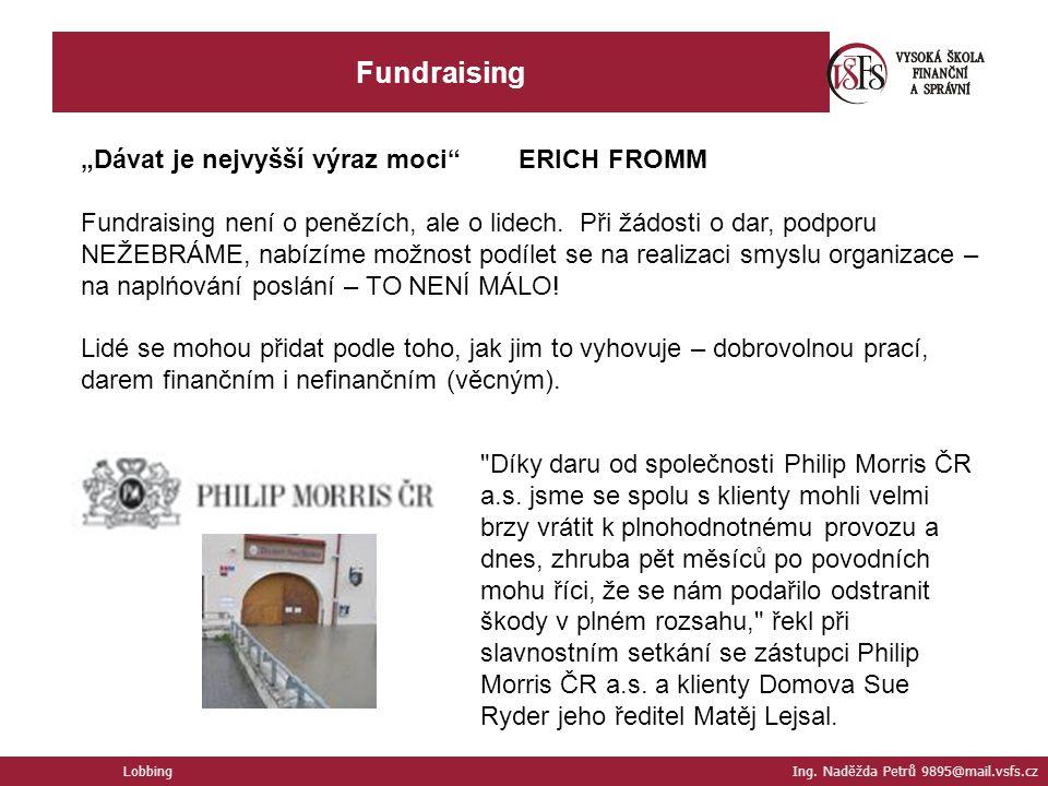 """Fundraising """"Dávat je nejvyšší výraz moci ERICH FROMM"""