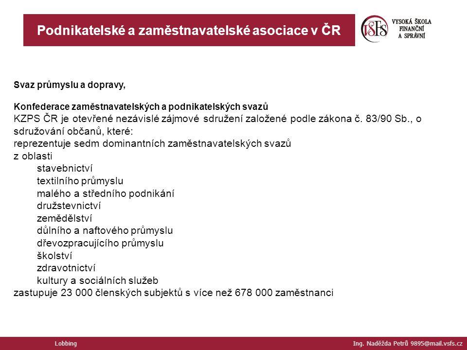Podnikatelské a zaměstnavatelské asociace v ČR