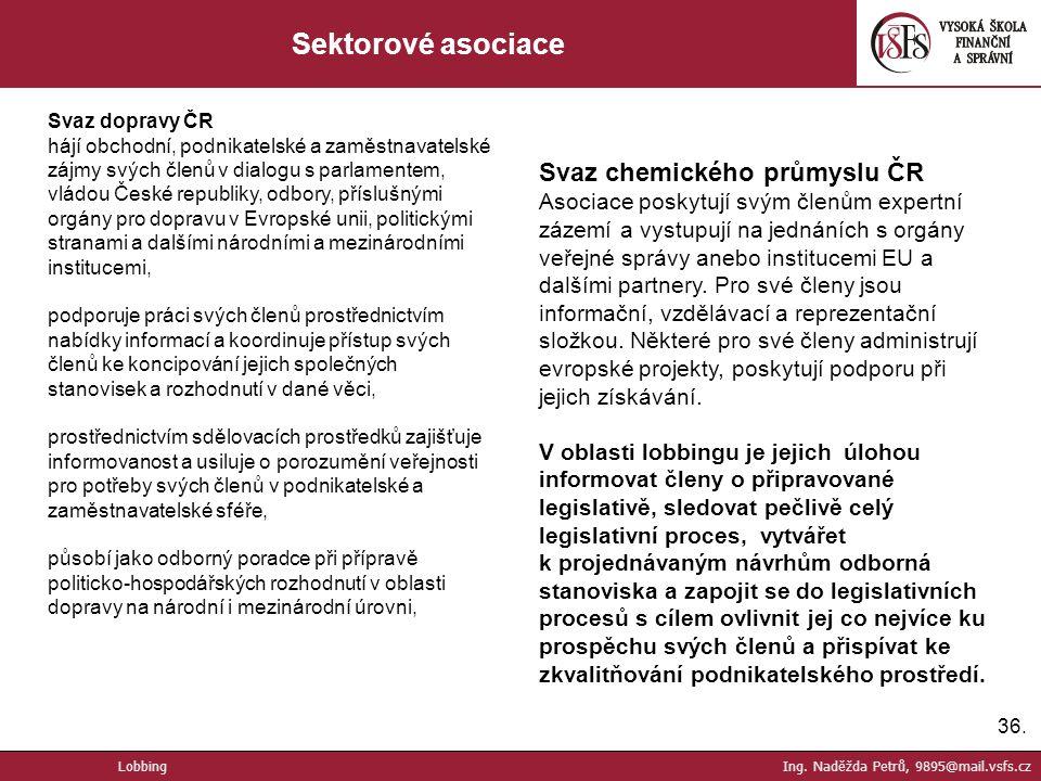 Sektorové asociace Svaz chemického průmyslu ČR