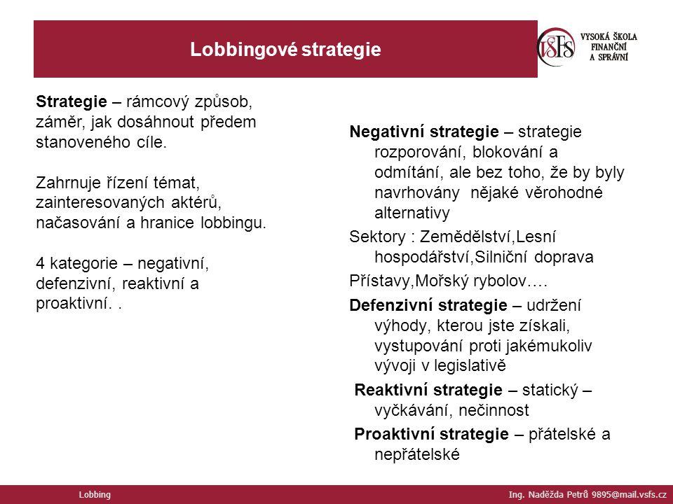 Lobbingové strategie Strategie – rámcový způsob, záměr, jak dosáhnout předem stanoveného cíle.