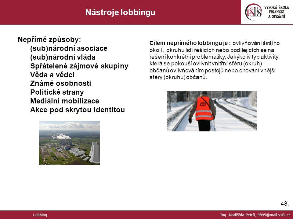 Nástroje lobbingu Nepřímé způsoby: (sub)národní asociace