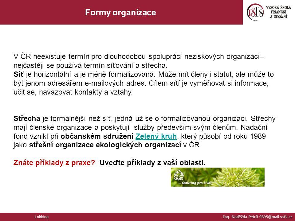 Formy organizace V ČR neexistuje termín pro dlouhodobou spolupráci neziskových organizací–nejčastěji se používá termín síťování a střecha.