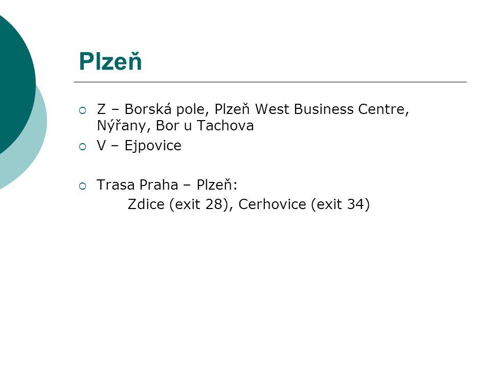 Plzeň Z – Borská pole, Plzeň West Business Centre, Nýřany, Bor u Tachova. V – Ejpovice. Trasa Praha – Plzeň: