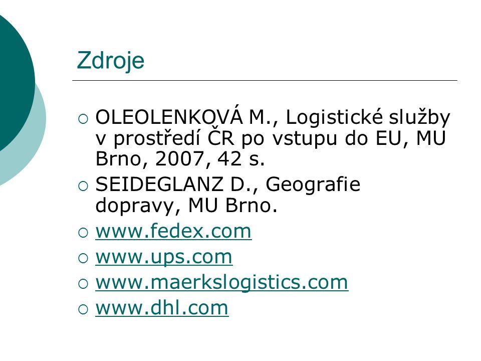 Zdroje OLEOLENKOVÁ M., Logistické služby v prostředí ČR po vstupu do EU, MU Brno, 2007, 42 s. SEIDEGLANZ D., Geografie dopravy, MU Brno.