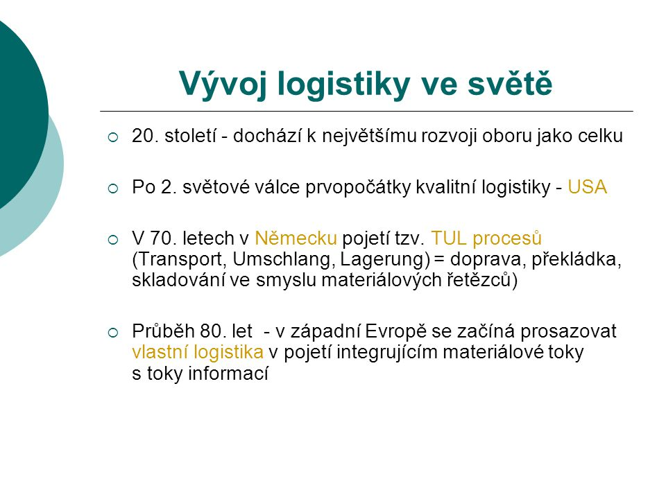 Vývoj logistiky ve světě