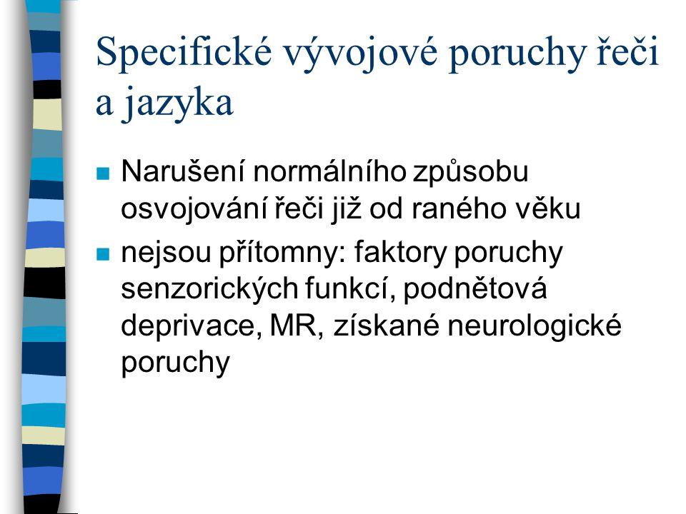 Specifické vývojové poruchy řeči a jazyka