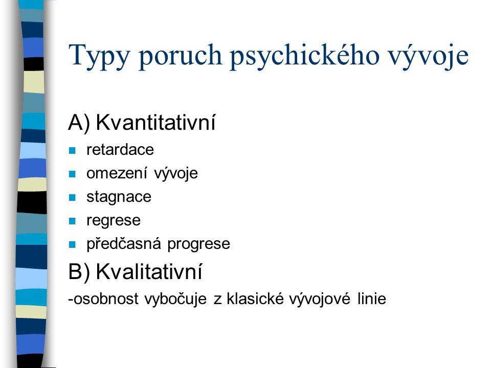 Typy poruch psychického vývoje