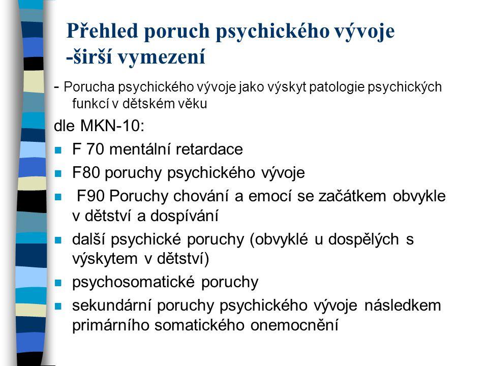 Přehled poruch psychického vývoje -širší vymezení
