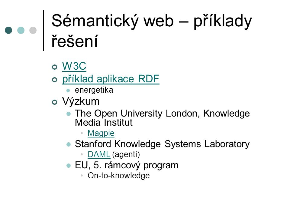 Sémantický web – příklady řešení