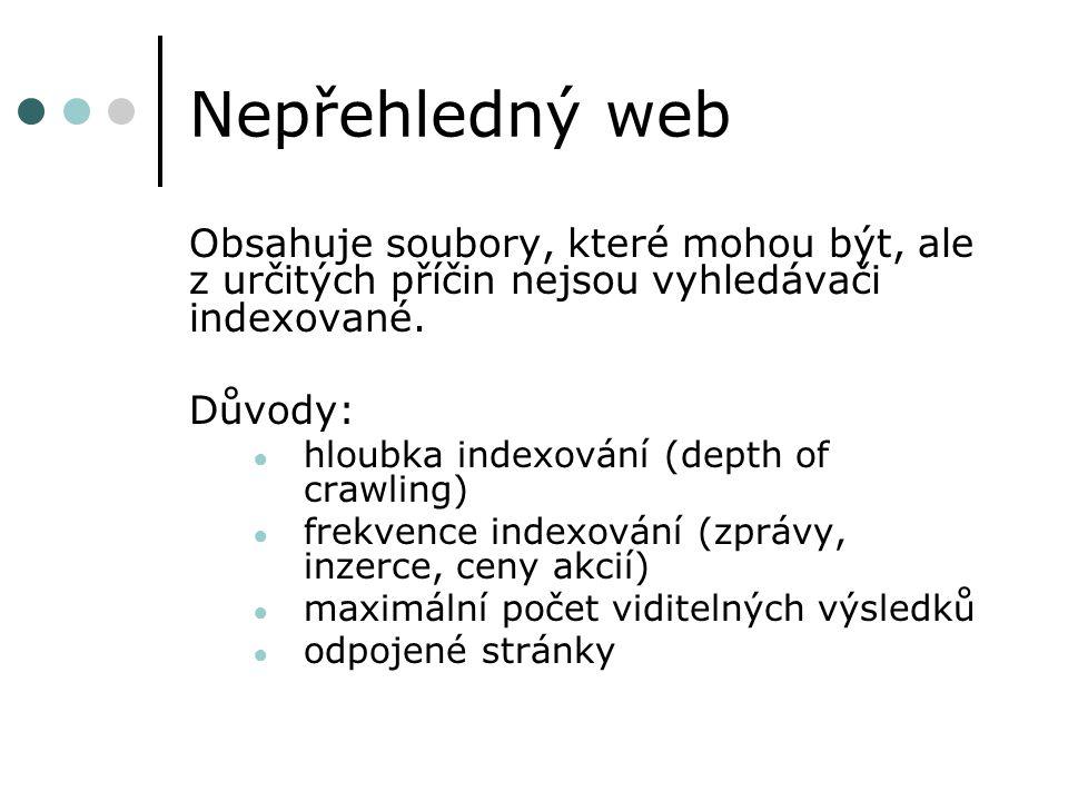 Nepřehledný web Obsahuje soubory, které mohou být, ale z určitých příčin nejsou vyhledávači indexované.