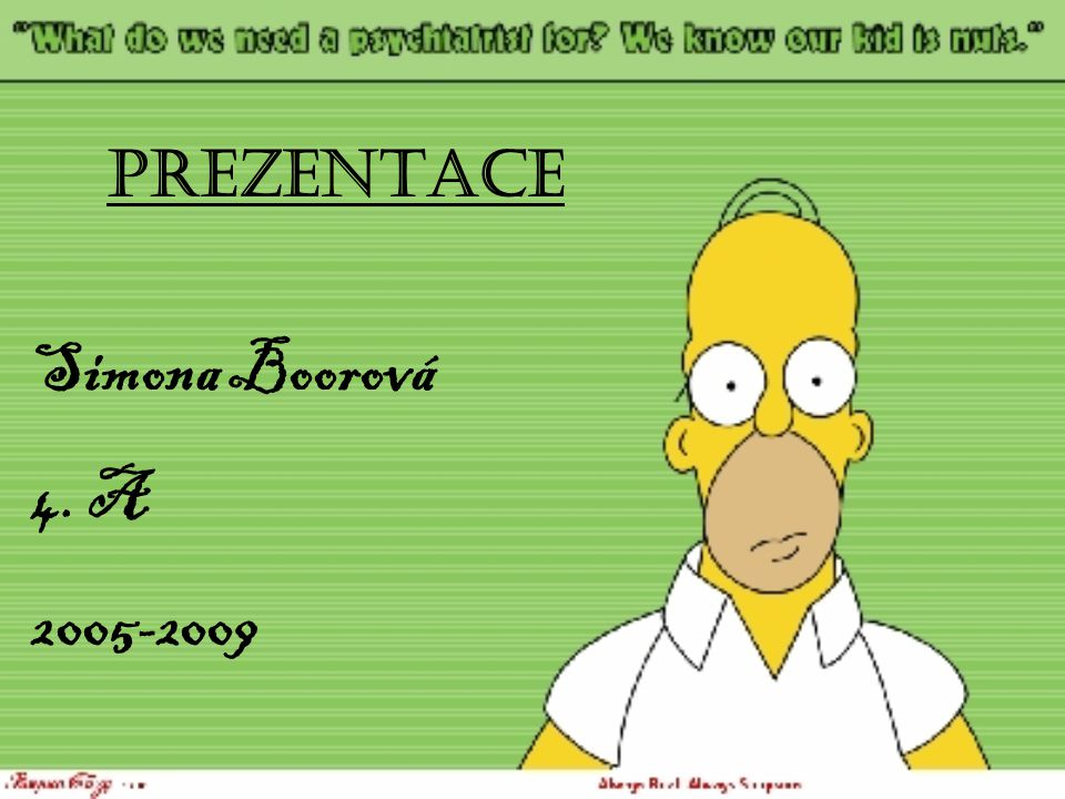 PREZENTACE Simona Boorová 4. A 2005-2009