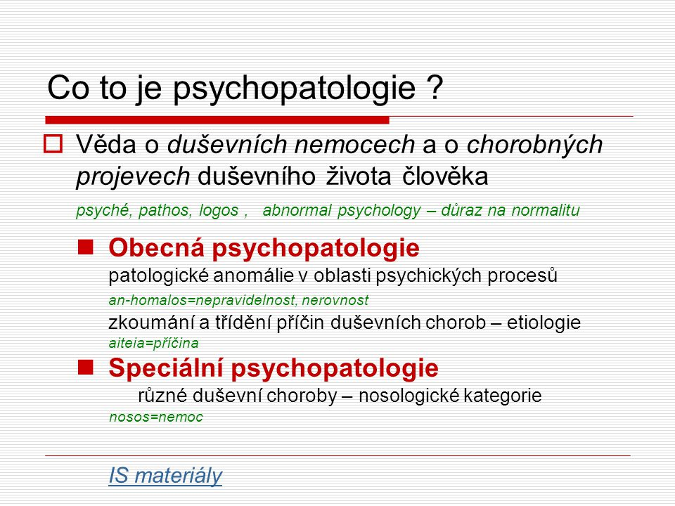 Co to je psychopatologie
