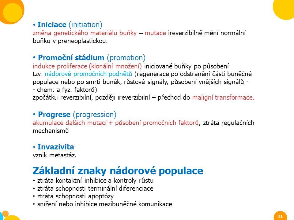 Základní znaky nádorové populace