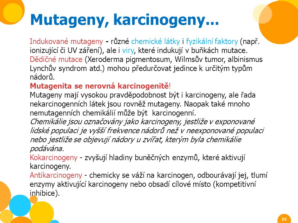 Mutageny, karcinogeny...