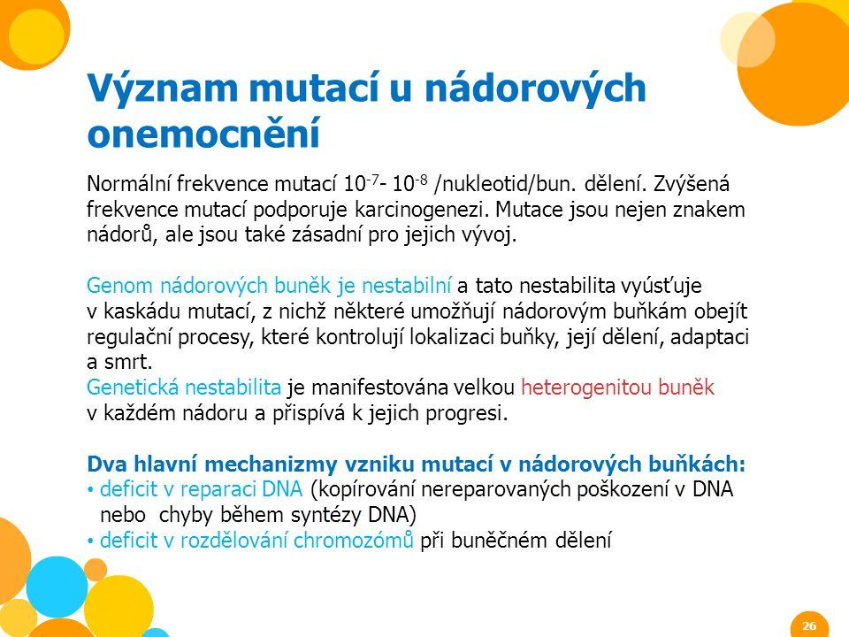 Význam mutací u nádorových onemocnění