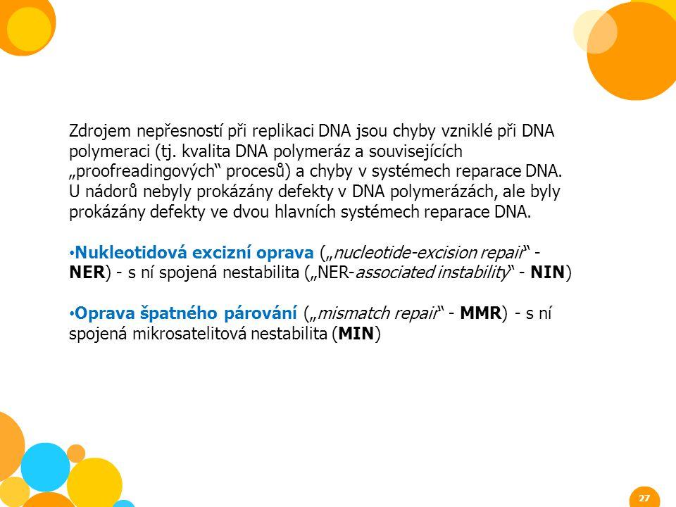 """Zdrojem nepřesností při replikaci DNA jsou chyby vzniklé při DNA polymeraci (tj. kvalita DNA polymeráz a souvisejících """"proofreadingových procesů) a chyby v systémech reparace DNA. U nádorů nebyly prokázány defekty v DNA polymerázách, ale byly prokázány defekty ve dvou hlavních systémech reparace DNA."""