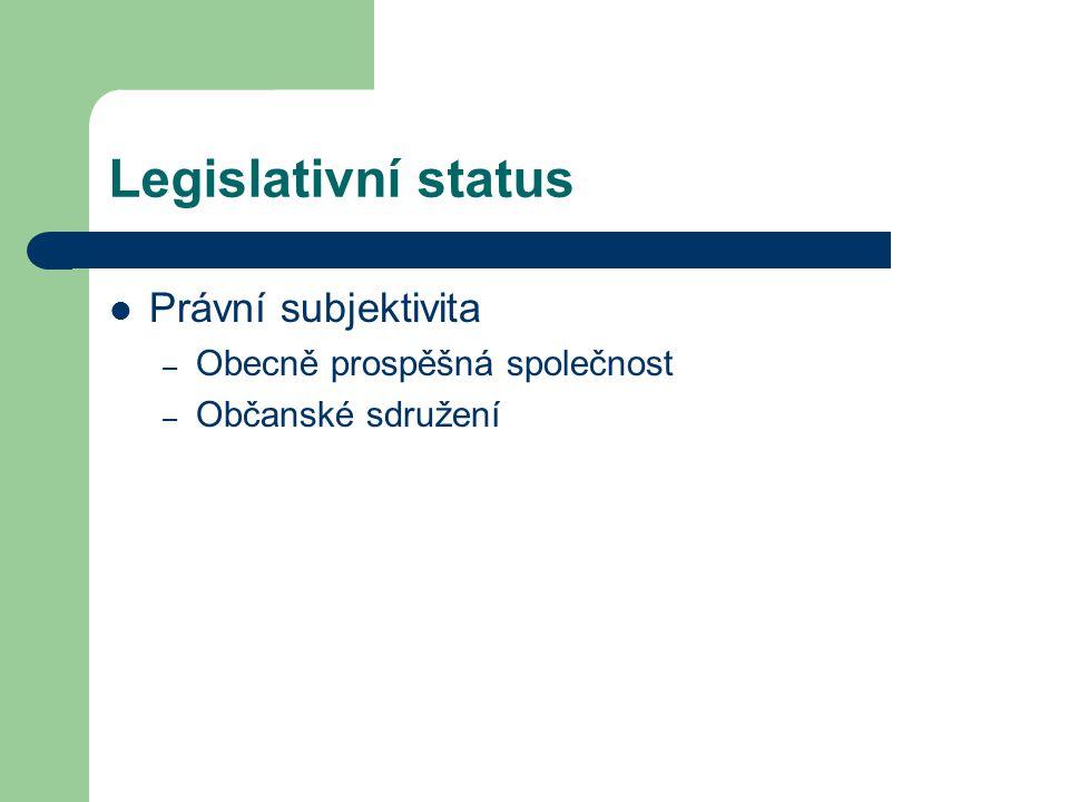 Legislativní status Právní subjektivita Obecně prospěšná společnost