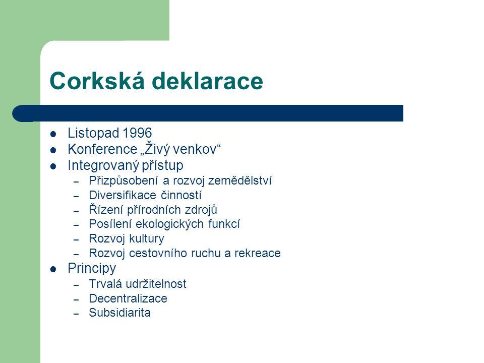 """Corkská deklarace Listopad 1996 Konference """"Živý venkov"""