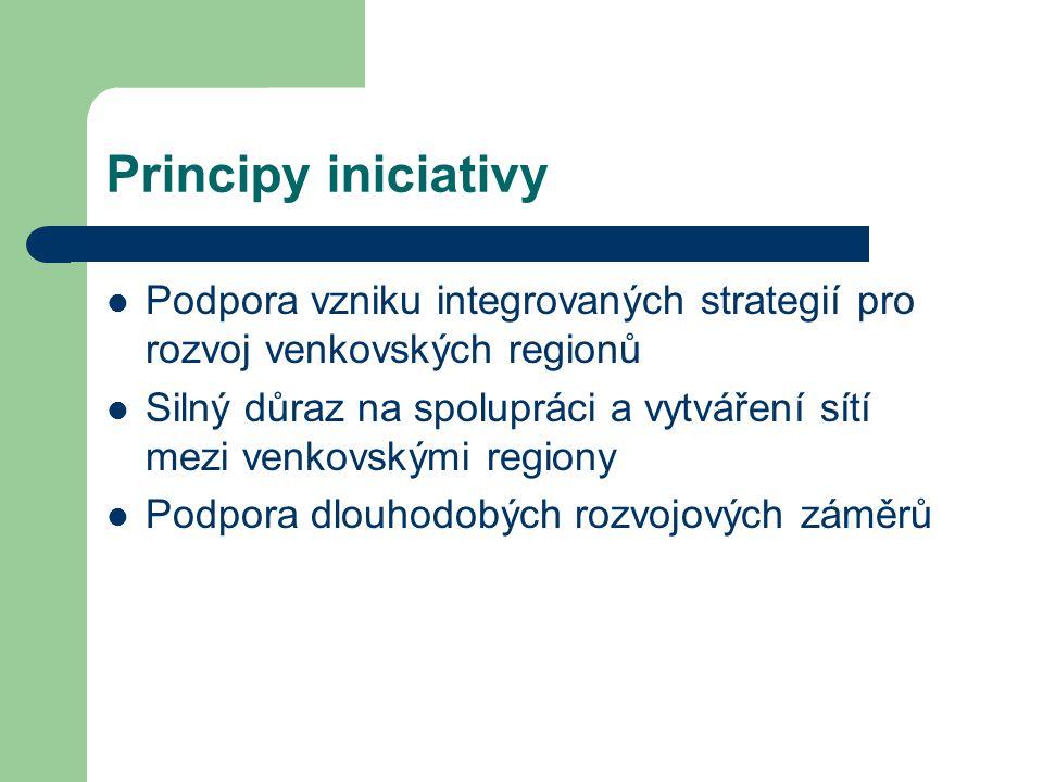 Principy iniciativy Podpora vzniku integrovaných strategií pro rozvoj venkovských regionů.