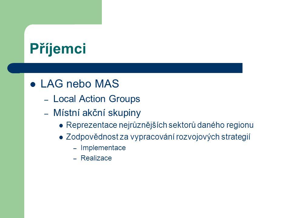 Příjemci LAG nebo MAS Local Action Groups Místní akční skupiny