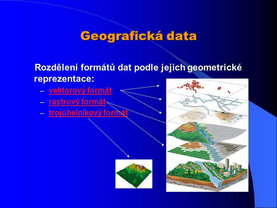 Geografická data Rozdělení formátů dat podle jejich geometrické reprezentace: vektorový formát. rastrový formát.