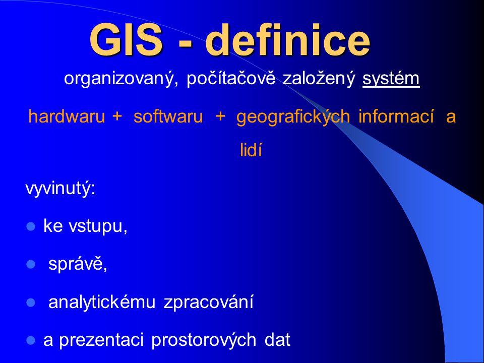 GIS - definice organizovaný, počítačově založený systém