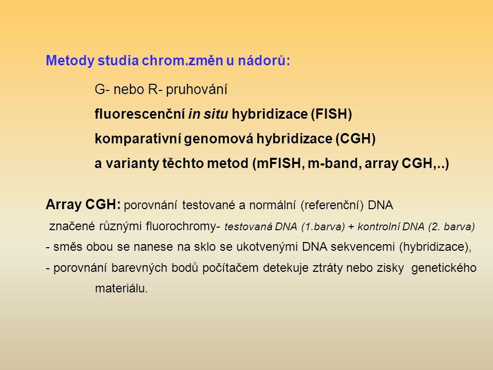 Metody studia chrom.změn u nádorů: G- nebo R- pruhování