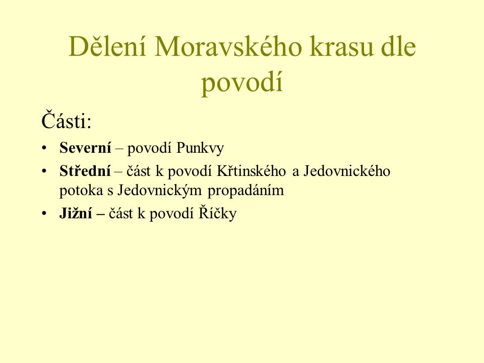 Dělení Moravského krasu dle povodí