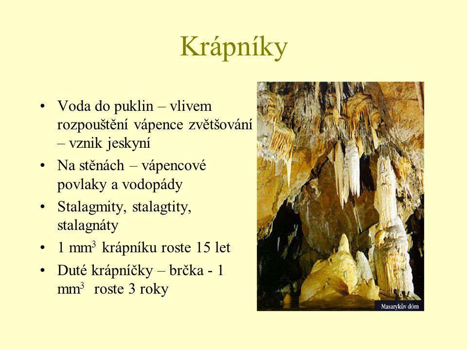 Krápníky Voda do puklin – vlivem rozpouštění vápence zvětšování – vznik jeskyní. Na stěnách – vápencové povlaky a vodopády.