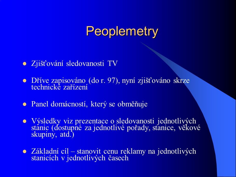 Peoplemetry Zjišťování sledovanosti TV