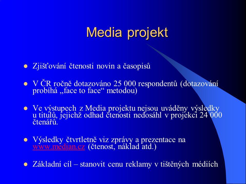 Media projekt Zjišťování čtenosti novin a časopisů