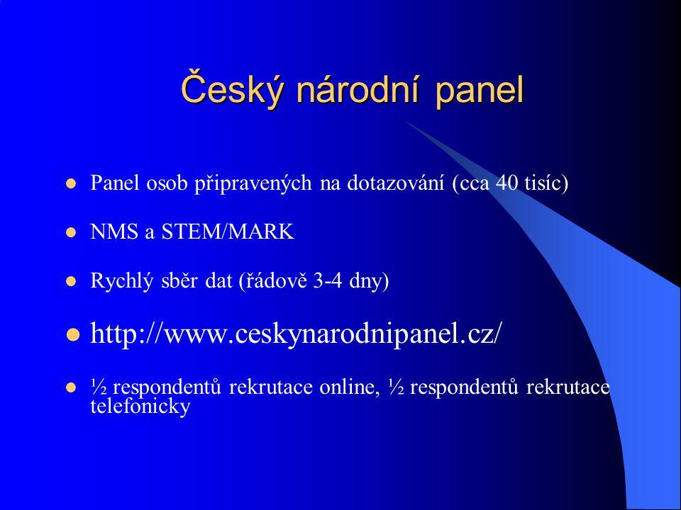 Český národní panel http://www.ceskynarodnipanel.cz/