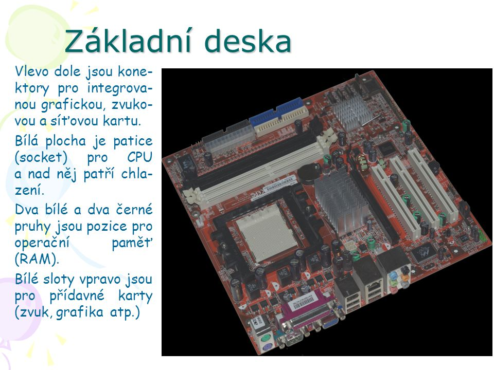 Základní deska Vlevo dole jsou kone-ktory pro integrova-nou grafickou, zvuko-vou a síťovou kartu.