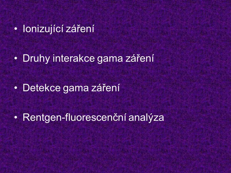 Ionizující záření Druhy interakce gama záření Detekce gama záření Rentgen-fluorescenční analýza