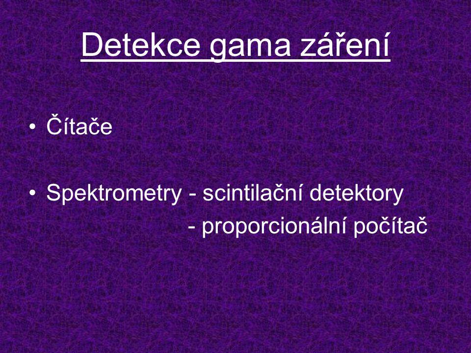 Detekce gama záření Čítače Spektrometry - scintilační detektory