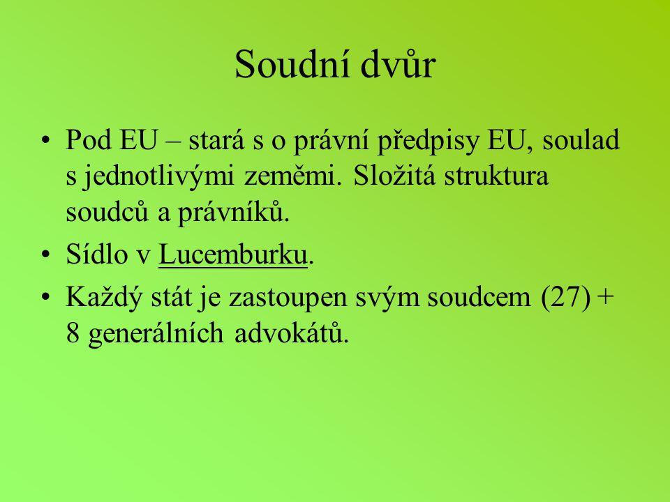 Soudní dvůr Pod EU – stará s o právní předpisy EU, soulad s jednotlivými zeměmi. Složitá struktura soudců a právníků.
